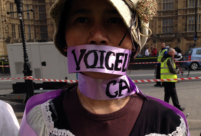 Domestic workers protesting outside the UK Parliament