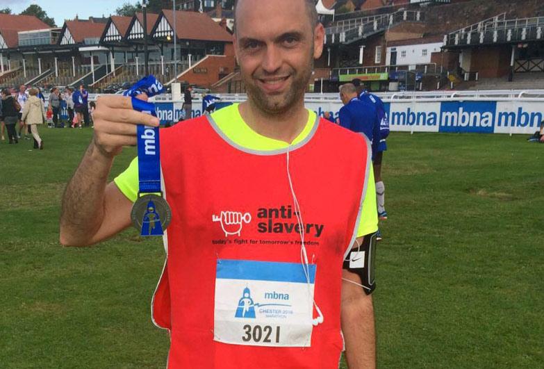 Treble marathon runner for Anti-Slavery International
