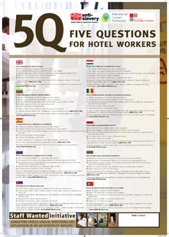poster to prevent exploitation of hotel workers
