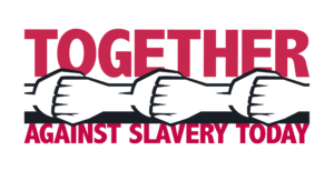 anti-slavery poster saying 'together against slavery today'