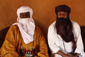 Chief Malick Asma (left) with Ilguilas Weila of Timidria, an anti-slavery NGO based in Niger.