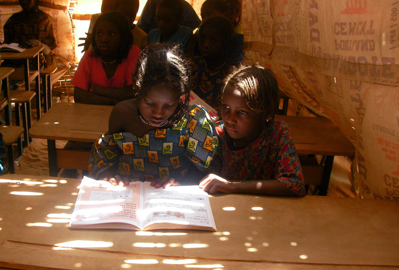 Girls reading a book in Niger school