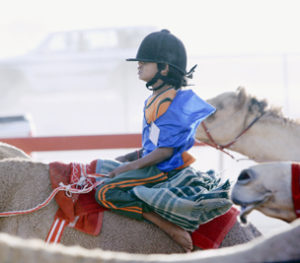 child racing a camel in UAE