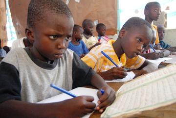boy in school in senegal
