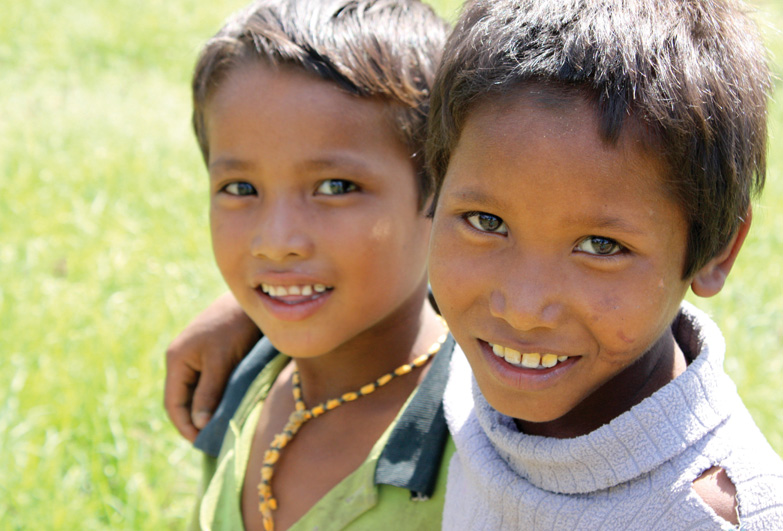 Two Nepalese boys from families affected by bonded labour who can now go to school