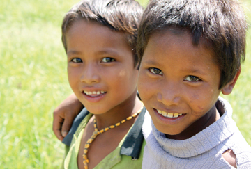 Two Nepalese boys who can now go to school