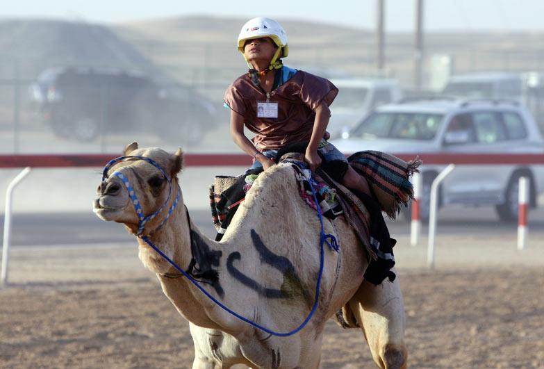 Child camel jockey in the United Arab Emirates.