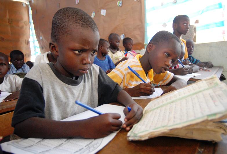 Boy in school in Senegal