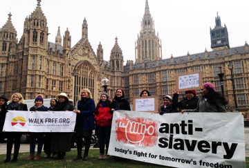 Protest outside Houses of Parliament to protect victims of slavery