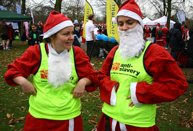 supporters in santa outfit