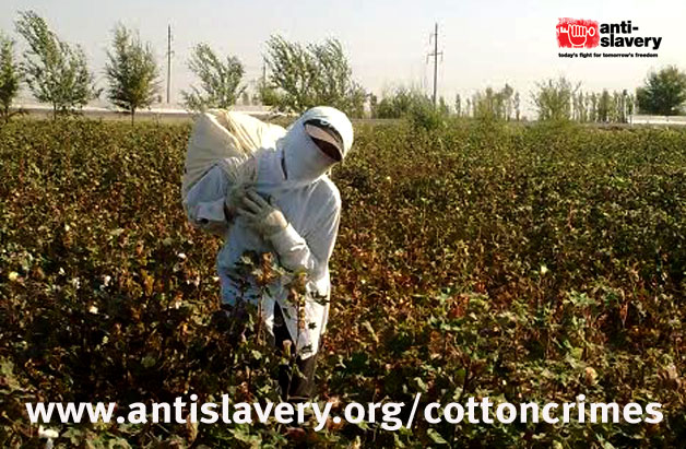 cotton crimes trafficking in persons report poster, image of person in forced labour on farm
