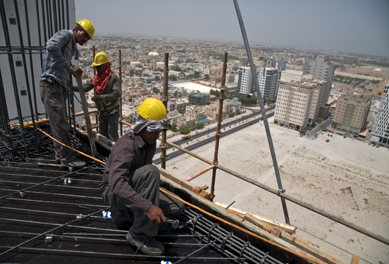 Construction migrant workers in Middle East
