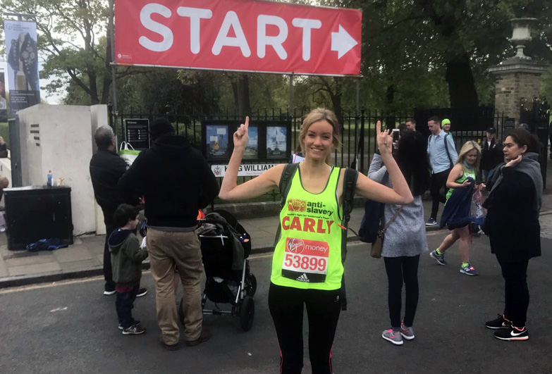 Carly Parson ahead of marathon in which she raise over £4,000 for Anti-Slavery International.