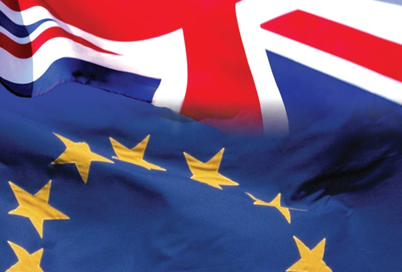 British and EU flags - report on Brexit and slavery