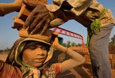 Bonded labour worker in India brick kiln