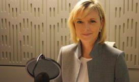 Julie Etchingham in recording studio