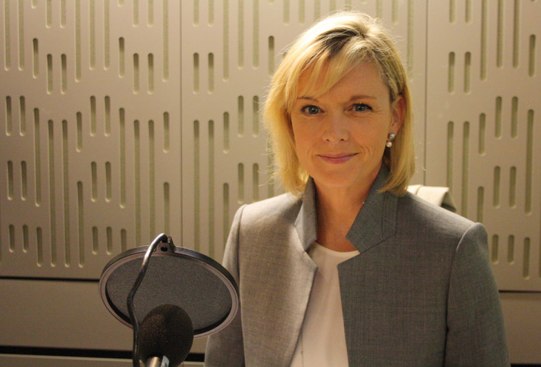 Julie Etchingham in recording studio