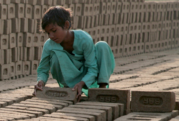 Child in India brick kiln
