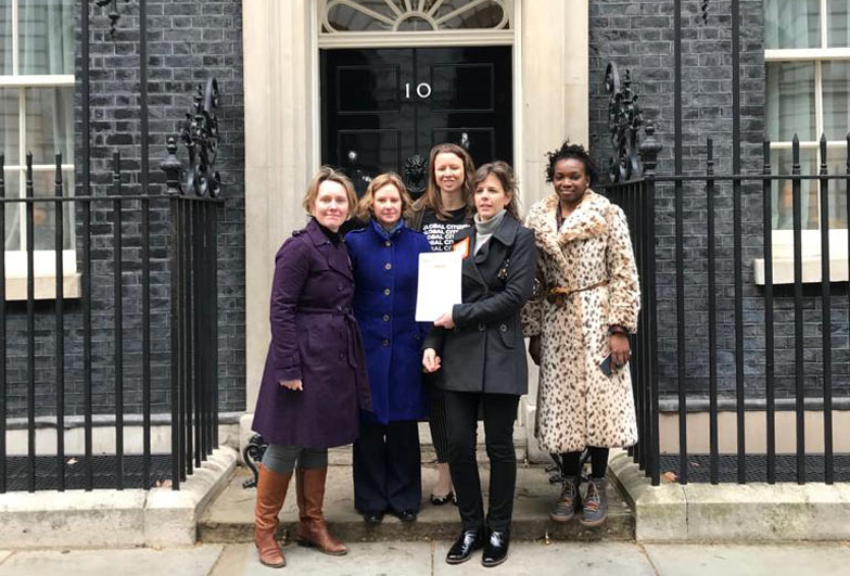 Protect not Nedglect petition hand in outside number 10 downing street