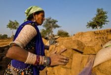 female worker in a brick kiln in India
