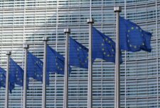 EU flags in front of the European Commission as the EU debates forced and child labour